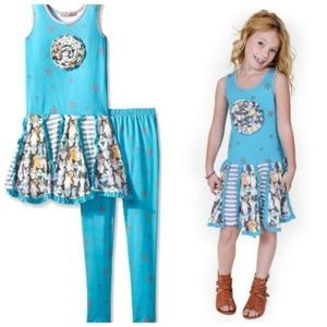 Jelly The Pug Tiered Dress Legging Set Outfit NWT
